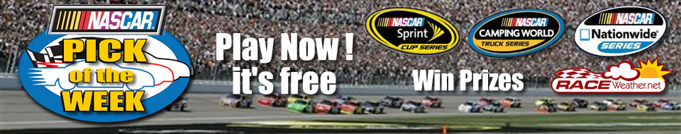 RaceWeather's Pick of the Week Contest Win a $50 gift certificate! The player who picks the most correct race winners for the entire NASCAR season will win the $50 gift...